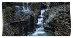 Watkins Glen Rainbow Falls Beach Sheet by Stephen Stookey
