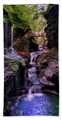 Watkins Glen State Park - Rainbow Falls 002 Beach Sheet by George Bostian