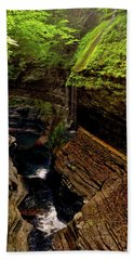 Watkins Glen State Park - Rainbow Falls 003 Beach Towel by George Bostian