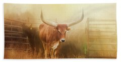 Watusi In The Dust And Golden Light Beach Towel