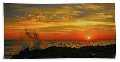 Wave Break Sunrise Beach Towel by Tom Claud