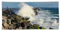 Wave Crash At The Wedge Beach Towel