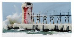 Wave Crashing On Snow-covered South Beach Towel
