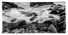 Waves Against A Rocky Shore In Bw Beach Towel