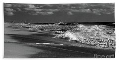 Waves And Clouds In Bw Beach Towel