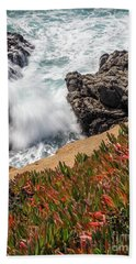 Waves And Rocks At Soberanes Point, California 30296 Beach Towel