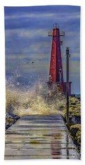 Waves At Muskegon South Breakwater Beach Towel
