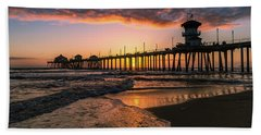 Waves At Sunset Beach Towel