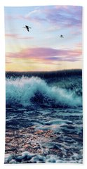 Waves Crashing At Sunset Beach Towel