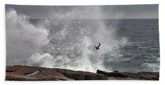 Waves Crashing  Beach Towel