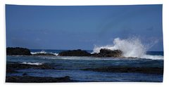 Waves Crashing Beach Sheet by Pamela Walton