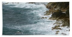 Waves Lashing Rocks Beach Towel