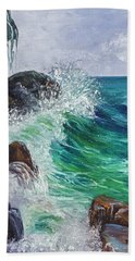 Beach Towel featuring the painting Waves On Maui by Darice Machel McGuire