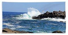 Waves  On Rocks Beach Towel