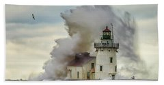 Waves Over The Lighthouse In Cleveland. Beach Towel