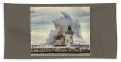 Waves Over The Lighthouse In Cleveland. Beach Sheet