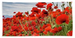 Waving Red Poppies Beach Sheet by Jean Noren