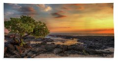 Beach Towel featuring the photograph Wawaloli Beach Sunset by Susan Rissi Tregoning