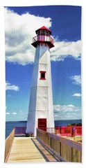 Beach Towel featuring the painting Wawatam Lighthouse by Christopher Arndt