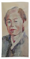 Beach Sheet featuring the painting Wc Portrait 1625 My Mama by Becky Kim