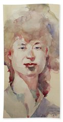 Beach Sheet featuring the painting Wc Portrait 1626 My Sister Eunja by Becky Kim