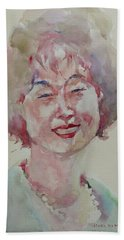 Beach Sheet featuring the painting Wc Portrait 1627 My Sister Hyunju by Becky Kim