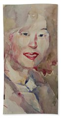 Beach Sheet featuring the painting Wc Portrait 1628 My Sister Hyunsook by Becky Kim