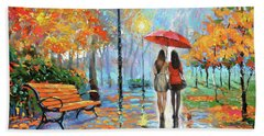 Beach Sheet featuring the painting We Met In Park          by Dmitry Spiros