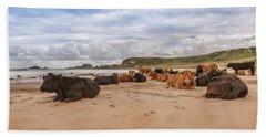 We Moo Like To Be Beside The Seaside Beach Towel by Roy McPeak
