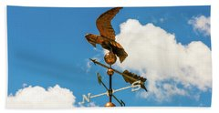 Beach Towel featuring the photograph Weather Vane On Blue Sky by D K Wall