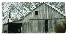 Weathered Barn In Winter Beach Towel