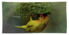 Weaver Bird Building A Nest Beach Towel