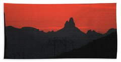 Weaver Needle Sunset Beach Sheet by Tom Janca