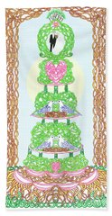 Beach Towel featuring the painting Wedding Cake With Doves Customize It With Names Of Bride And Groom by Lise Winne