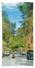 Beach Towel featuring the painting Weeping Janur Bali Indonesia by Melly Terpening
