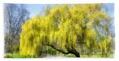 Weeping Willow Aquarell Beach Towel