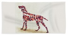 Beach Sheet featuring the painting Weimaraner Watercolor Painting / Typographic Art by Inspirowl Design