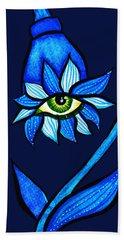 Weird Blue Staring Creepy Eye Flower Beach Sheet