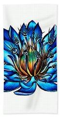 Weird Multi Eyed Blue Water Lily Flower Beach Sheet