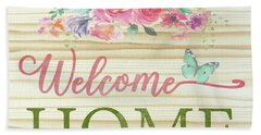 Beach Towel featuring the digital art Welcome Home-c by Jean Plout