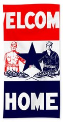 Vintage Welcome Home Military Sign Beach Towel