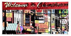 Welcome To Chinatown Sign Red Beach Towel by Marianne Dow