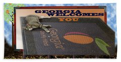 Welcome To Georgia Beach Towel by Donna Brown