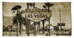 Welcome To Las Vegas Series Sepia Grunge Beach Towel