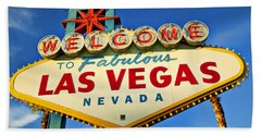 Welcome To Las Vegas Sign Beach Sheet by Garry Gay