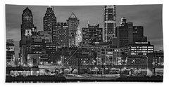Welcome To Penn's Landing Bw Beach Towel