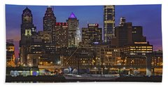 Welcome To Penn's Landing Beach Towel by Susan Candelario