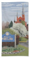 Beach Towel featuring the painting Welcome To Portland by Dominic White
