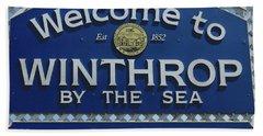 Welcome To Winthrop Ma Beach Towel