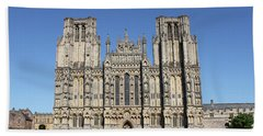 Beach Towel featuring the photograph Wells Cathedral by Linda Prewer